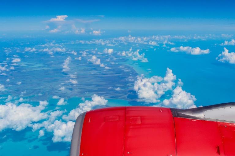 Blick aus dem Flugzeug auf die Bahamas
